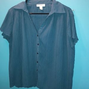Turquoise blue button down blouse